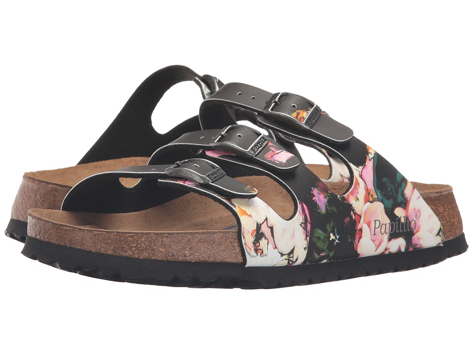 Birkenstock - Florida Soft Footbed - Birko-Flor (Painted Bloom Black Birko-Flor) Women's Sandals