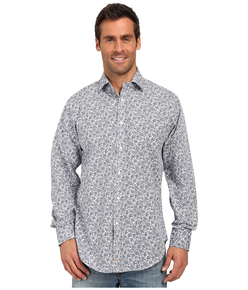 Thomas Dean & Co. - Blue Floral Print Button Down Sport Shirt (Blue) Men's Long Sleeve Button Up