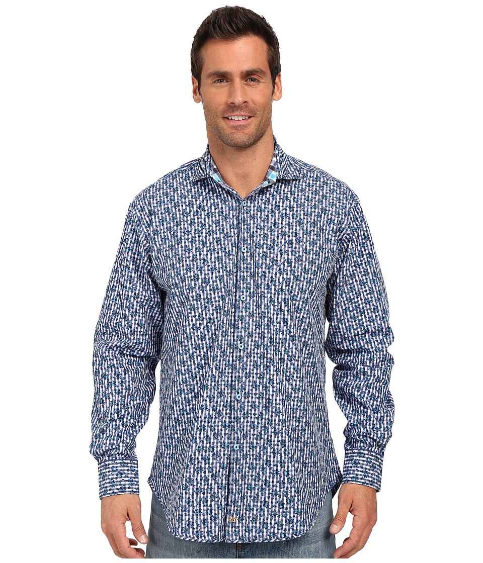 Thomas Dean & Co. - Cobalt Poplin Print Button Down Sport Shirt (Cobalt) Men's Long Sleeve Button Up