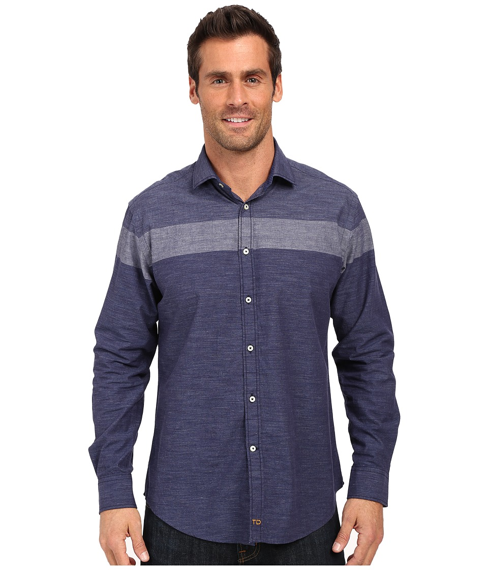Thomas Dean & Co. - Blue Stripe Tailored Fit Button Down Sport Shirt (Blue) Men's Long Sleeve Button Up
