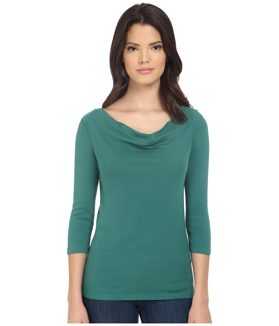 Three Dots - 1x1 Cotton Modal 3/4 Sleeve Cowl Neck (Fresh Evergreen) Women's Long Sleeve Pullover