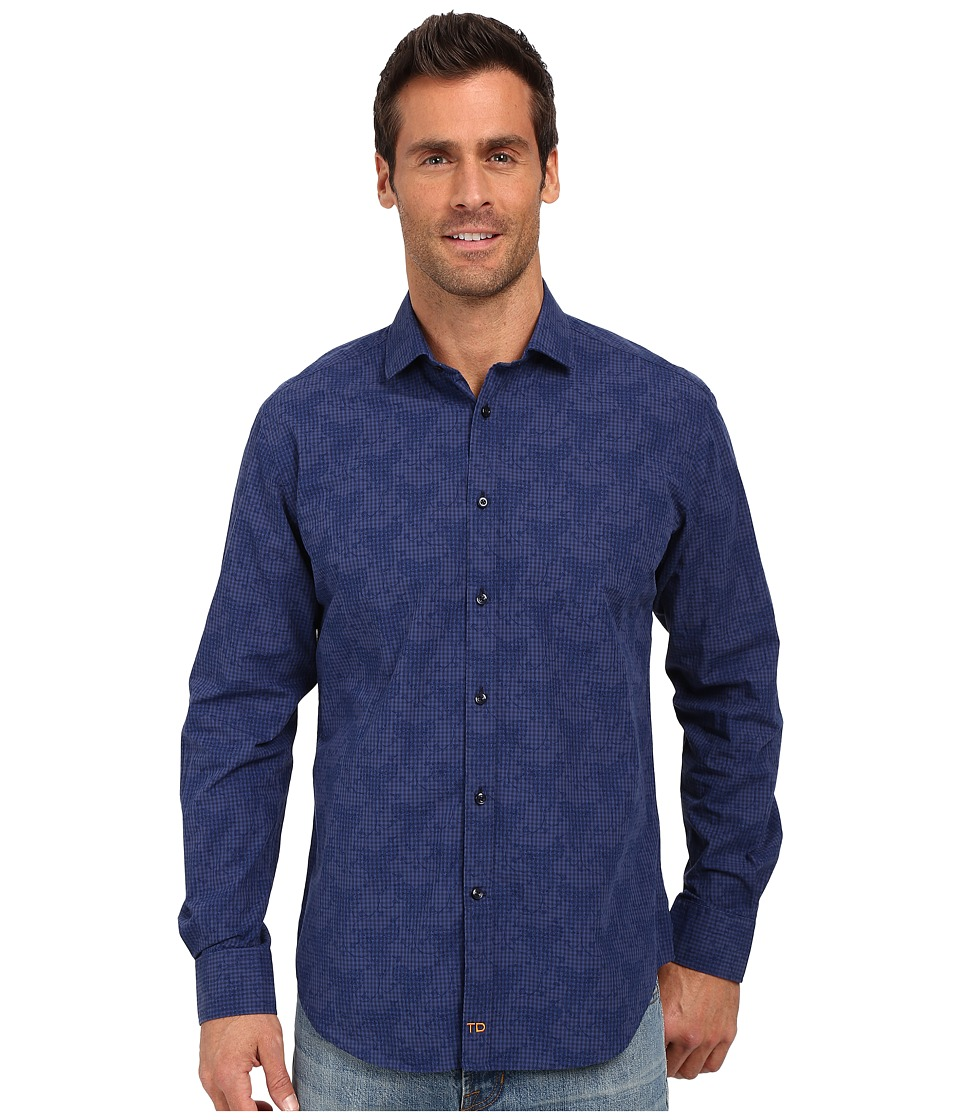 Thomas Dean & Co. - Dark Navy Gingham Tailored Fit Button Down Sport Shirt (Dark Navy) Men's Long Sleeve Button Up