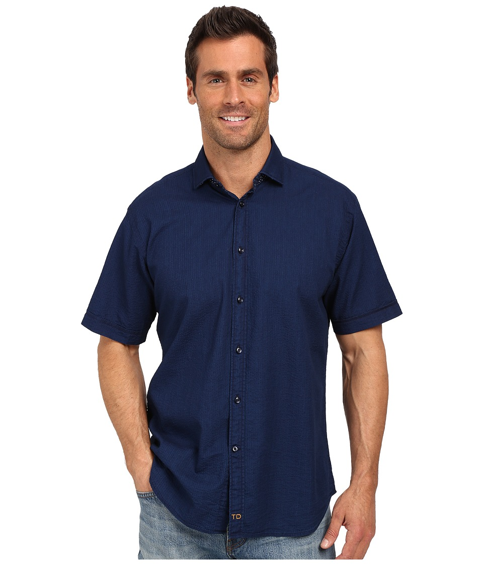 Thomas Dean & Co. - Indigo Solid Short Sleeve Button Down Sport Shirt (Blue) Men's Short Sleeve Button Up