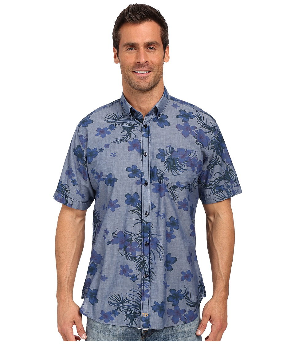 Thomas Dean & Co. - Blue Denim Print Short Sleeve Button Down Collar Sport Shirt (Blue) Men's Short Sleeve Button Up