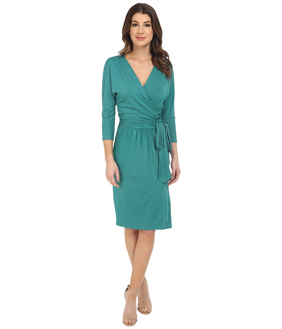 Three Dots Grete Wrap Dress (Fresh Evergreen) Women