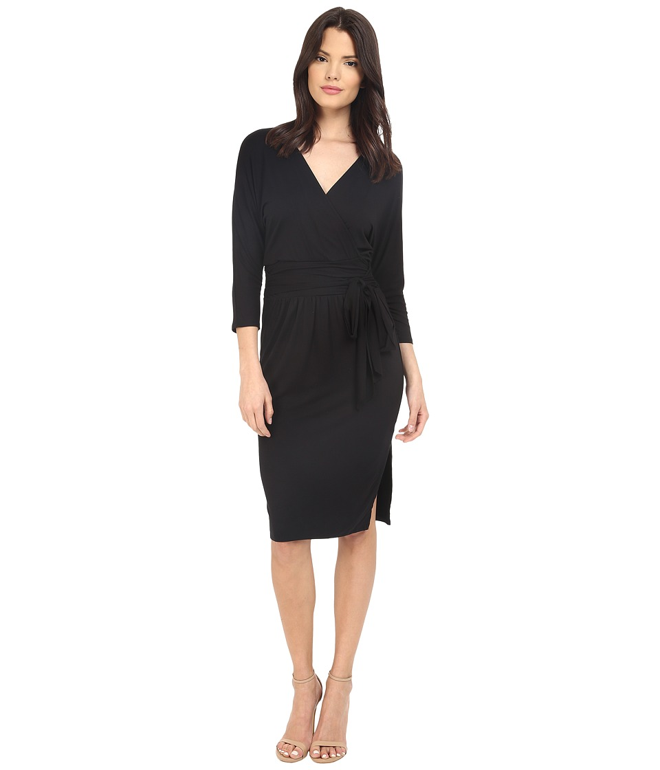Three Dots Grete Wrap Dress (Black) Women