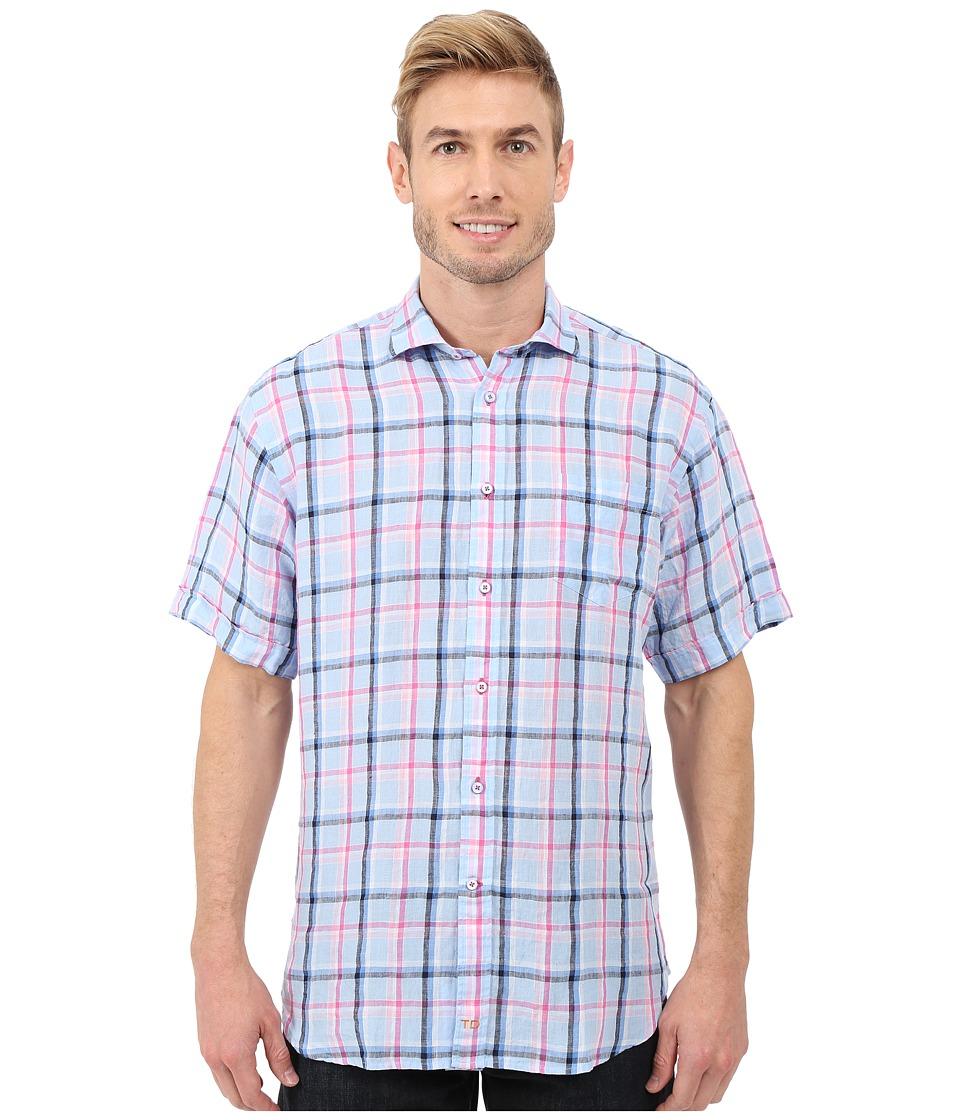 Thomas Dean & Co. - Short Sleeve Woven Classic Check (Blue) Men's Clothing