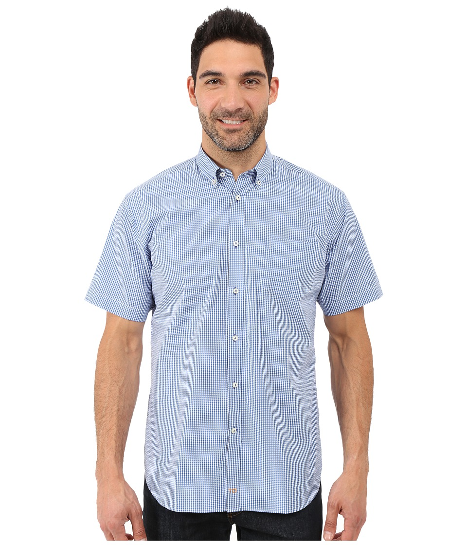 Thomas Dean & Co. - Gingham Short Sleeve Button Down Collar Sport Shirt (Blue) Men's Clothing