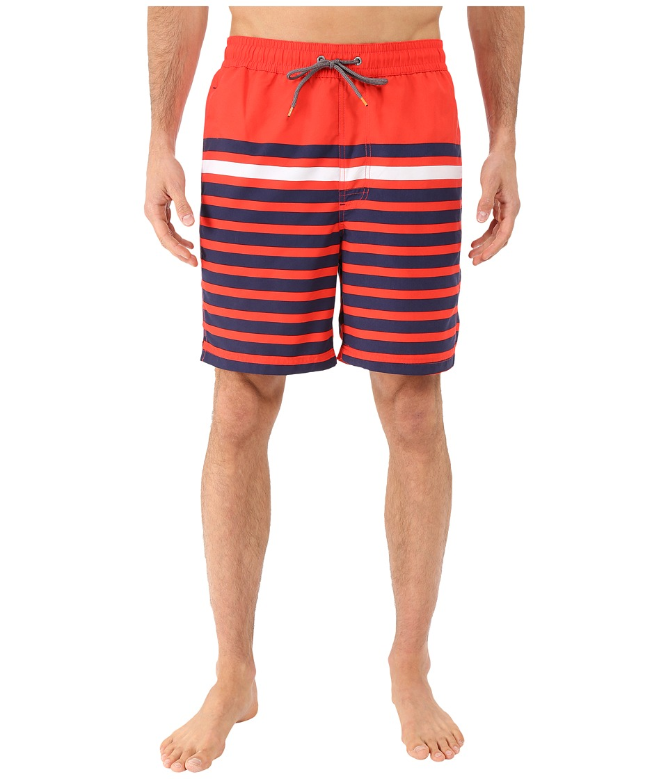 Thomas Dean & Co. - Multi Stripe Board Short (Red) Men's Swimwear