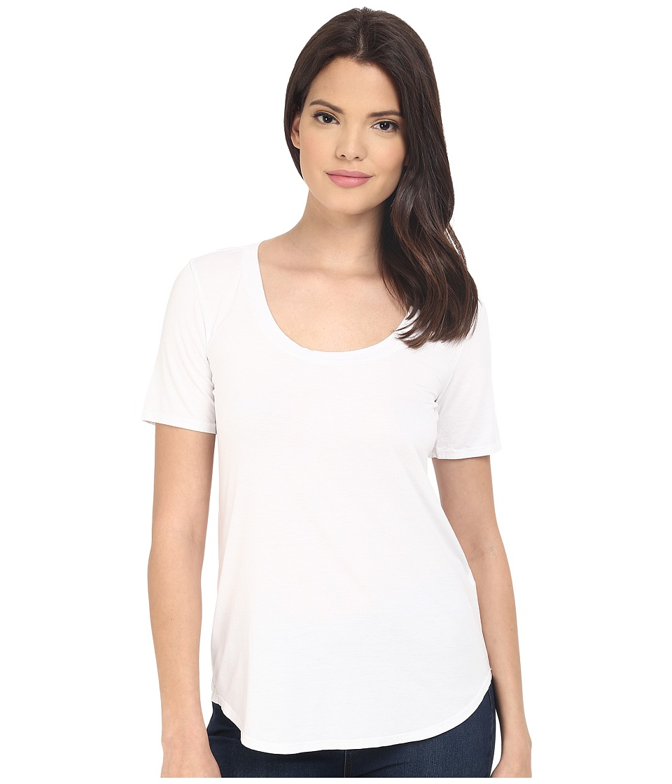 Three Dots Evelyn Tee Tunic (White) Women's Short Sleeve Pullover
