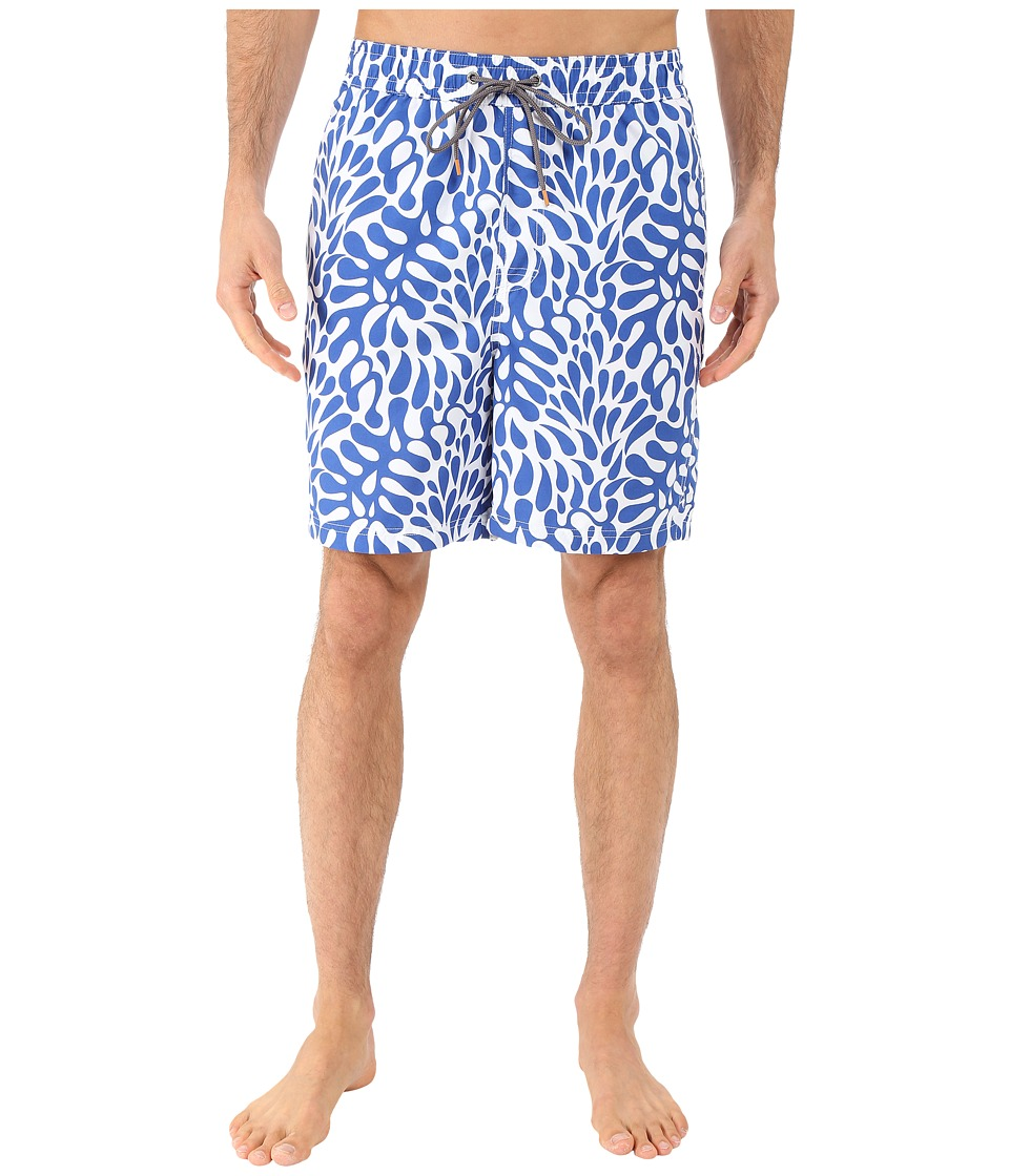 Thomas Dean & Co. - Hawaiian Print Board Short (Royal) Men's Swimwear