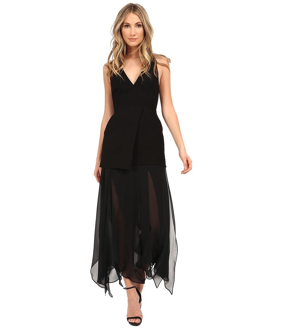 Halston Heritage Sleeveless Deep V-Neck Crepe Dress with Flowy Skirt (Black) Women