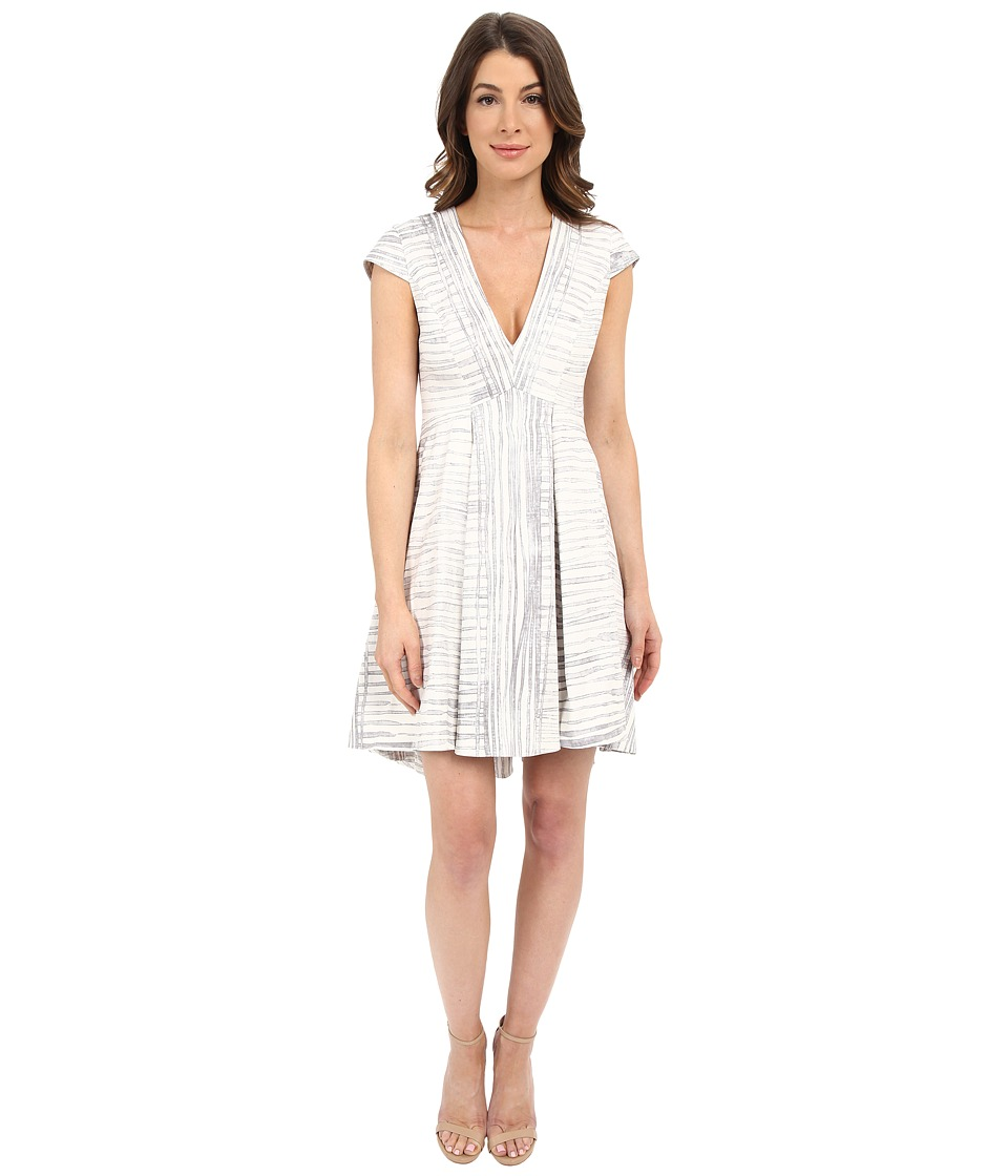 Halston Heritage - Cap Sleeve V-Neck Printed Structured Dress (Flint Engineered Stripe Print) Women's Dress