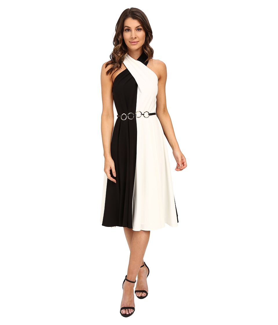 Halston Heritage - Sleeveless Cross Neck Color Blocked Dress with Curved Ring Belt (Black/Eggshell) Women's Dress
