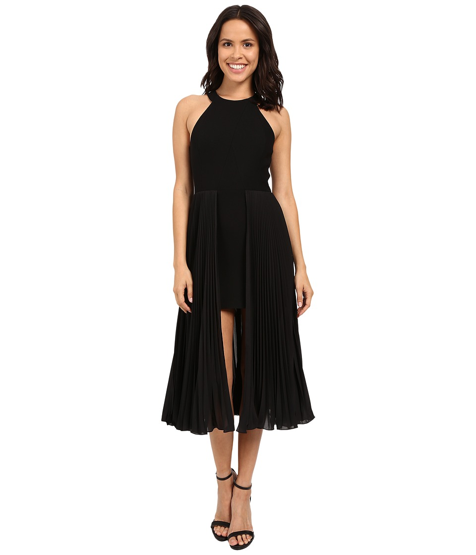 Halston Heritage - Sleeveless Round Neck Crepe Dress with Pleated Skirt Insert (Black) Women's Dress