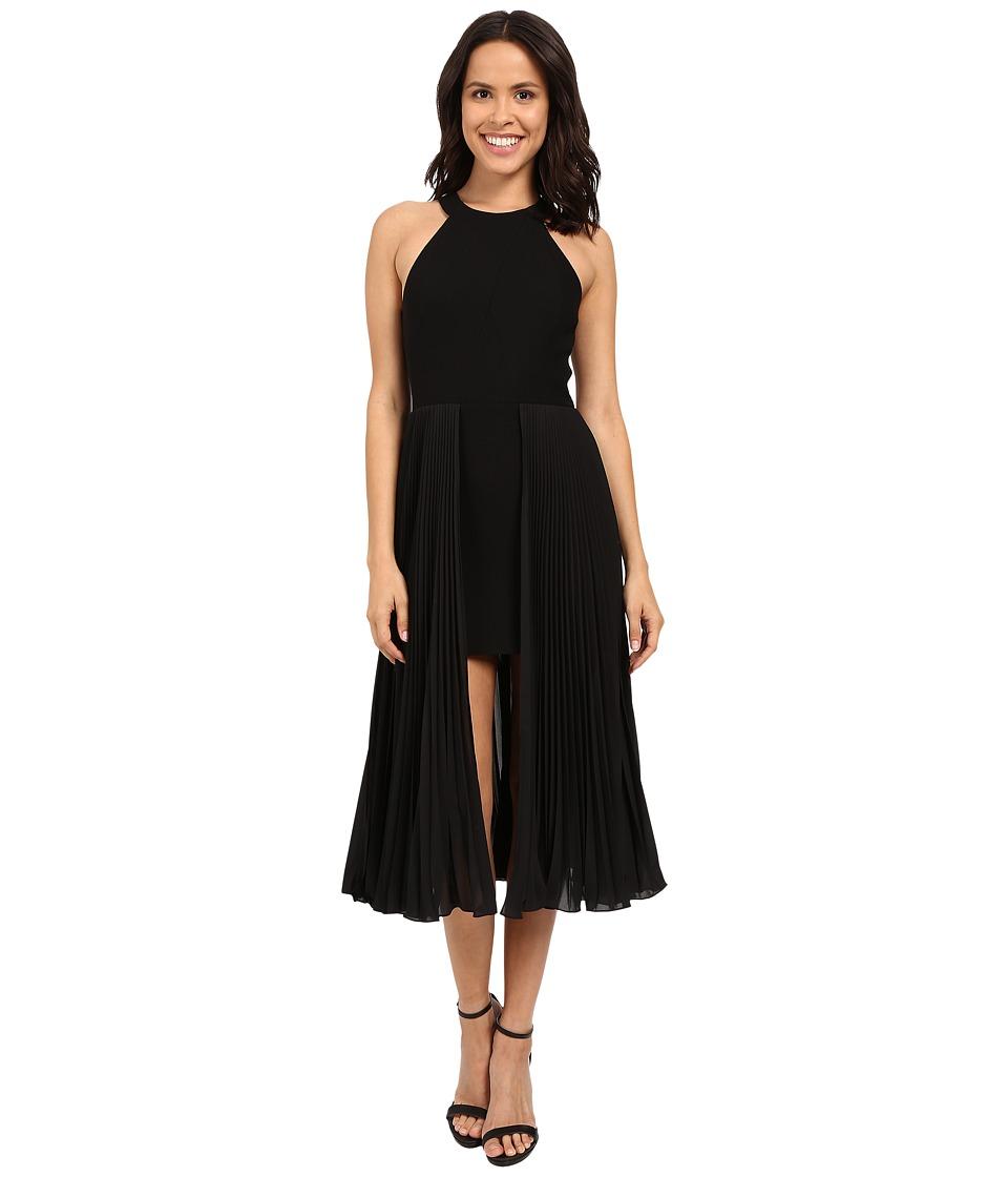 Halston Heritage Sleeveless Round Neck Crepe Dress with Pleated Skirt Insert (Black) Women
