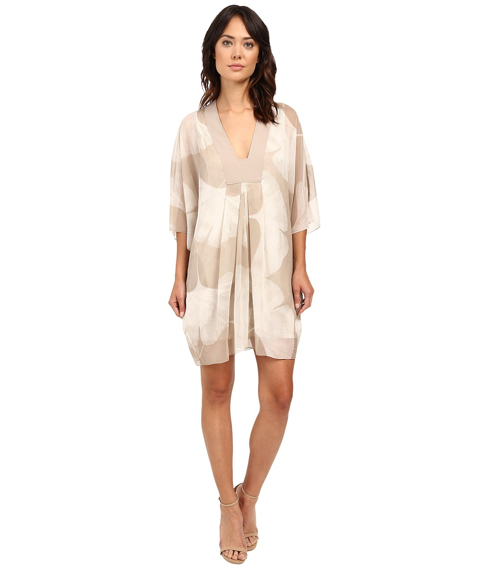 Halston Heritage - Long Sleeve V-Neck Printed Mini Kaftan Dress (Pebble Botanical Print) Women's Dress