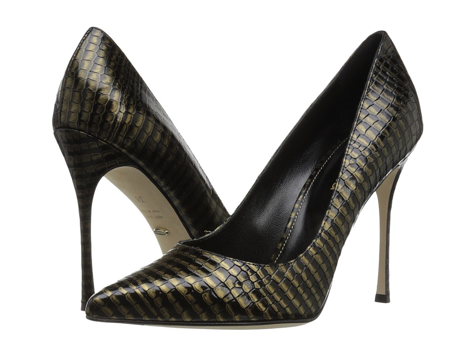 Sergio Rossi Godiva (Black Stamped Leather) High Heels