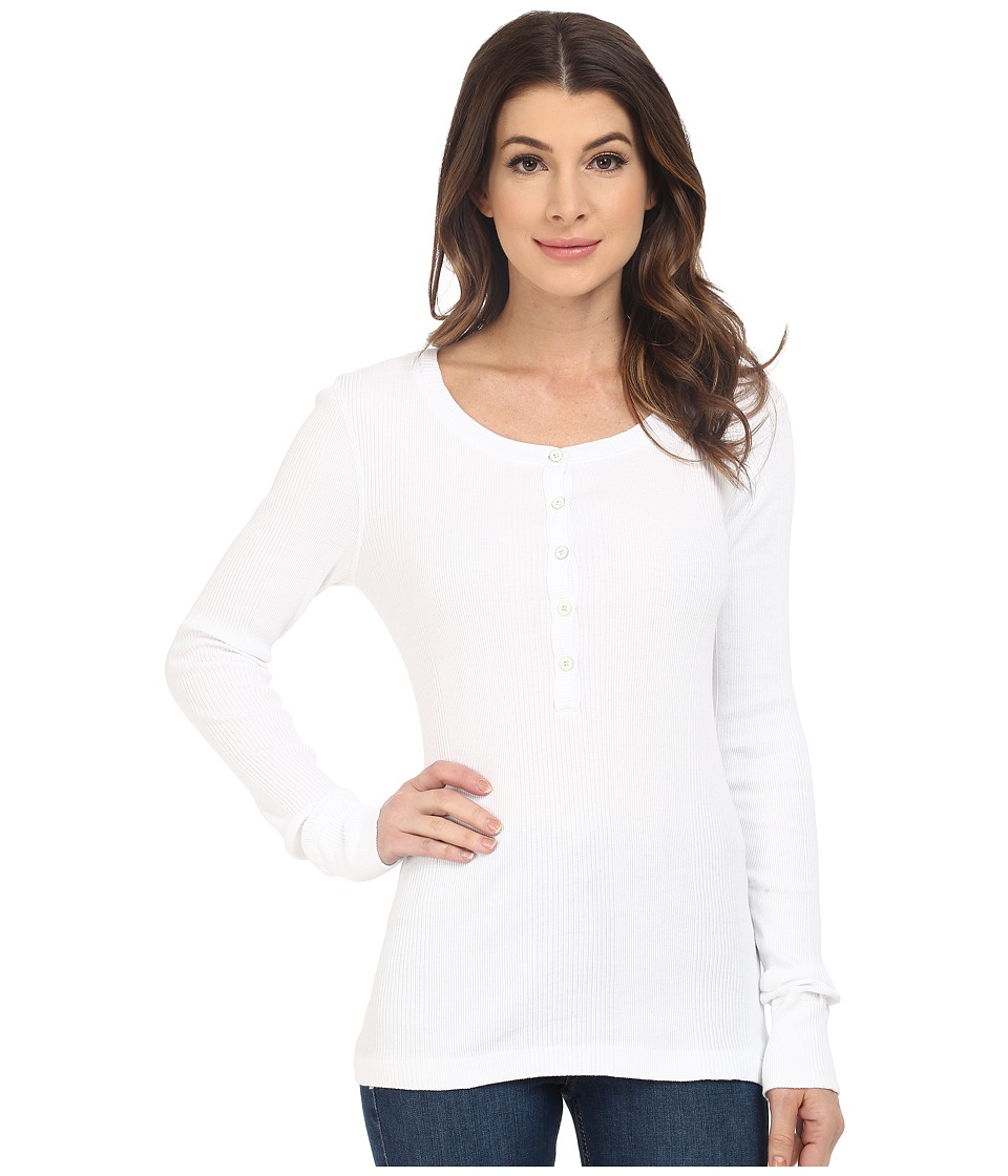 Three Dots - Sofia Long Sleeve Rib Henley (White) Women's Long Sleeve Pullover