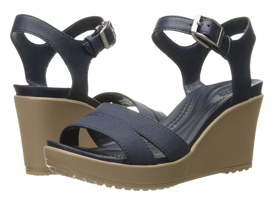 Crocs - Leigh II Ankle Strap Wedge (Navy) Women's Wedge Shoes