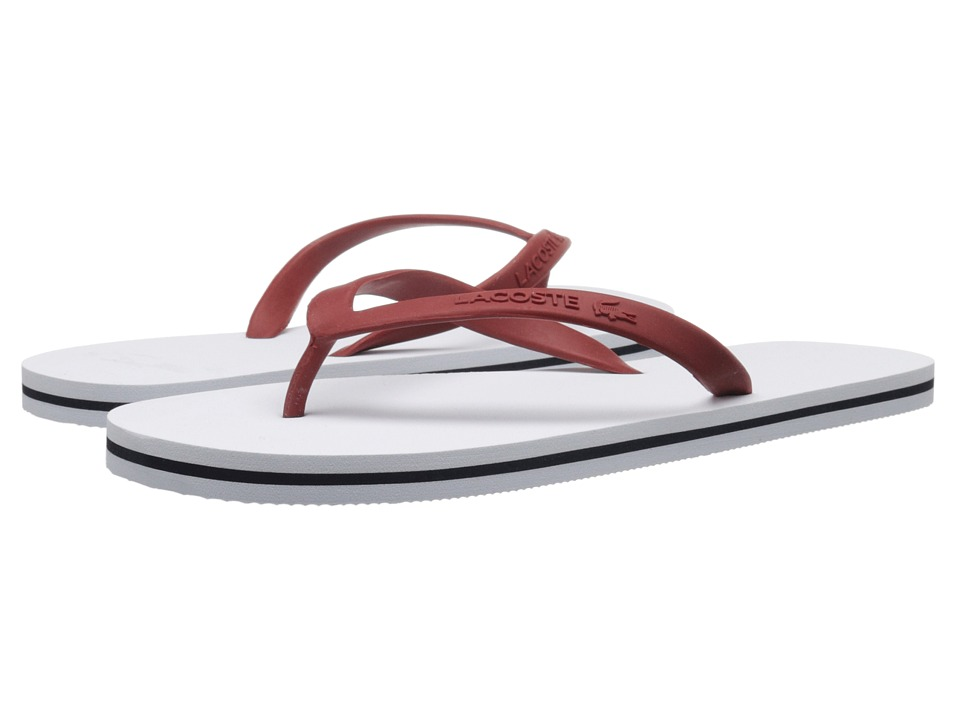 Lacoste - Ancelle Slide (White/Dark Red) Women's Sandals