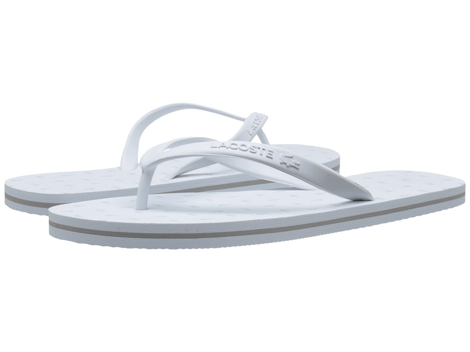 Lacoste - Ancelle Slide (White/Light Grey) Women's Sandals