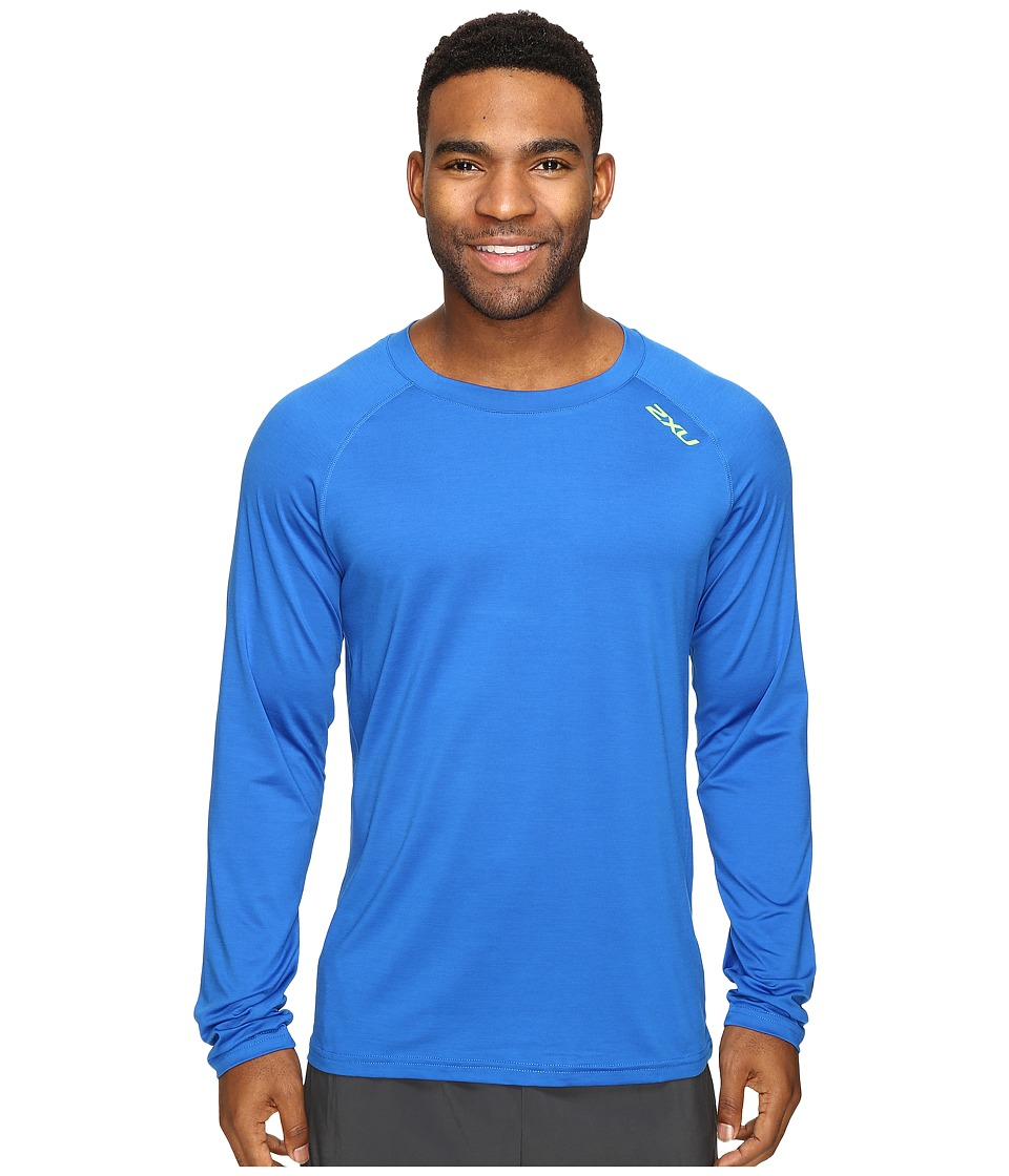 2XU - Urban Long Sleeve Top (Cobalt Blue Marle/Gecko Green) Men's Clothing