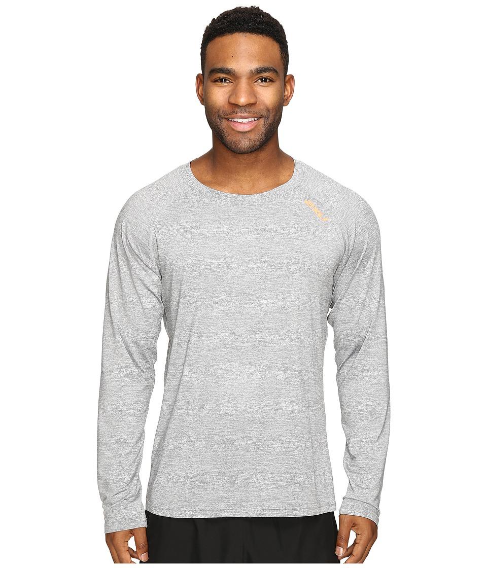 2XU - Urban Long Sleeve Top (Moon Grey Marle/Sunburst Orange) Men's Clothing