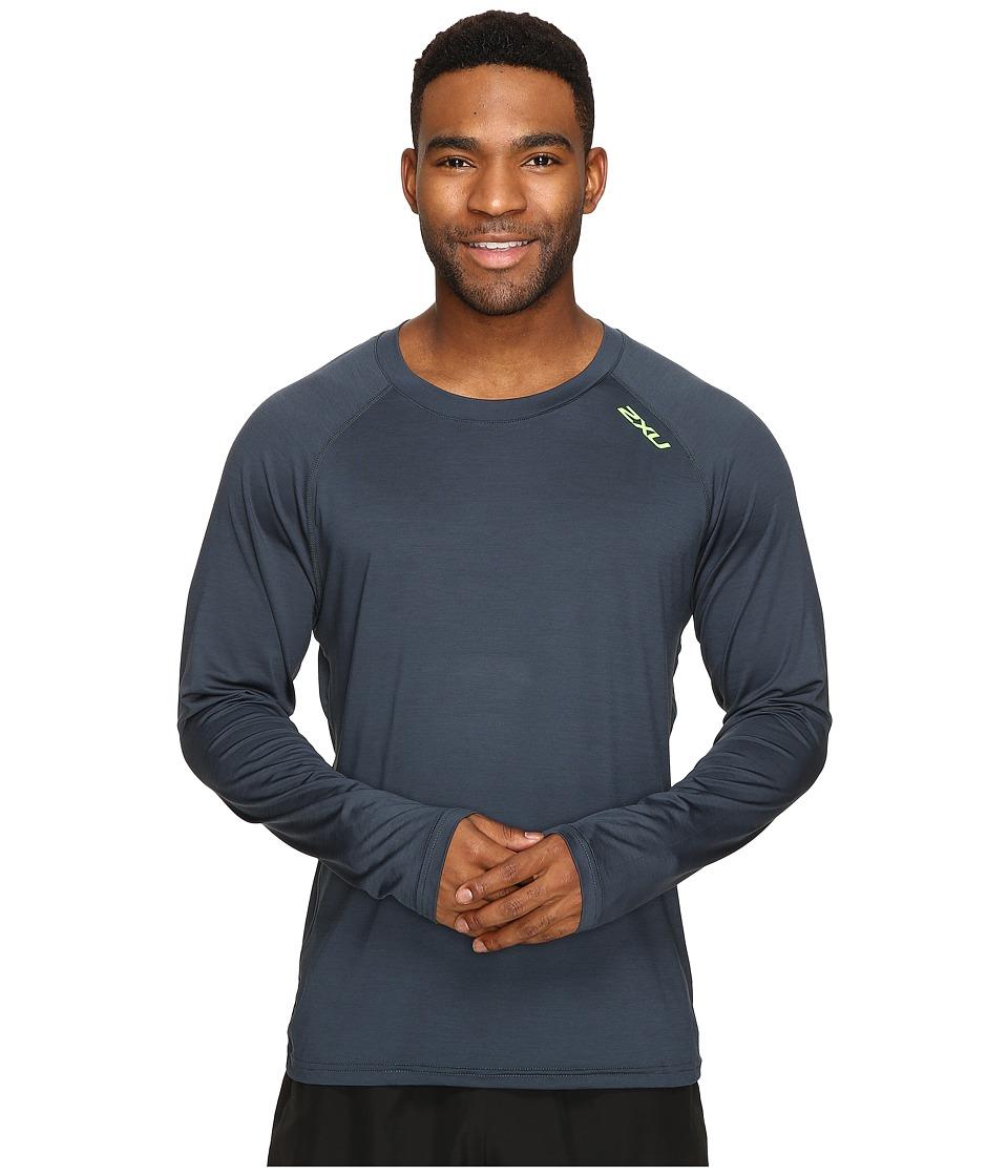 2XU - Urban Long Sleeve Top (Ombre Blue Marle/Gecko Green) Men's Clothing