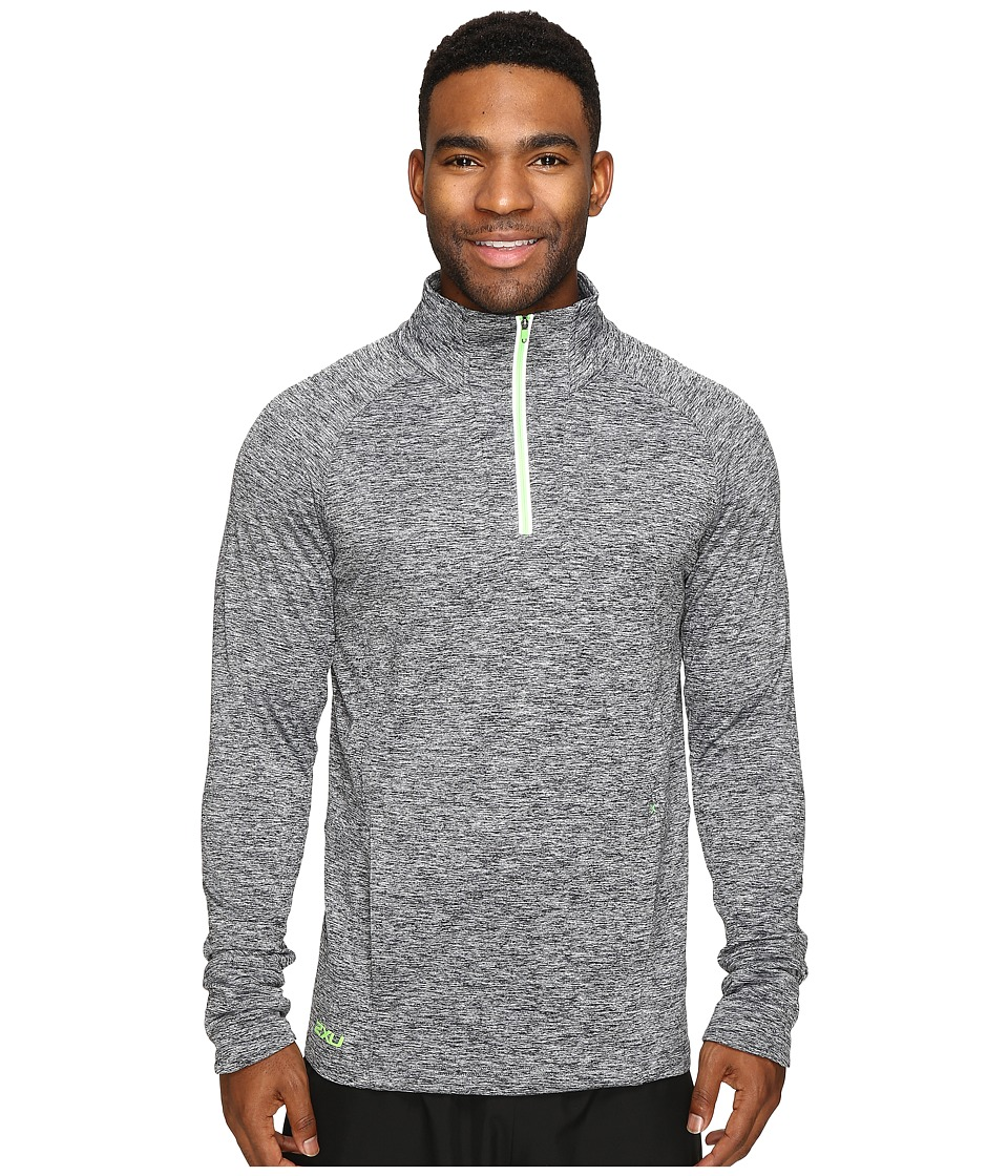 2XU - Formsoft 1/4 Zip Long Sleeve Top (Black Marle/Gecko Glow) Men's Clothing
