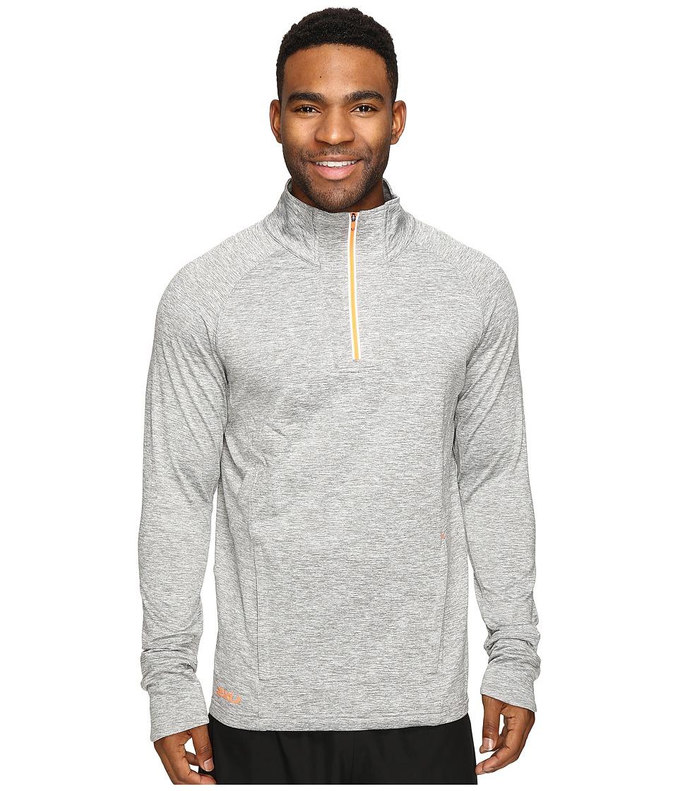 2XU - Formsoft 1/4 Zip Long Sleeve Top (Moon Grey Marle/Sunburst Orange) Men's Clothing