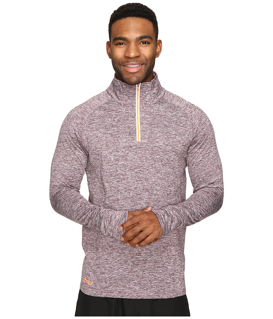 2XU - Formsoft 1/4 Zip Long Sleeve Top (Run Burgundy Marle/Sunburst Orange) Men's Clothing