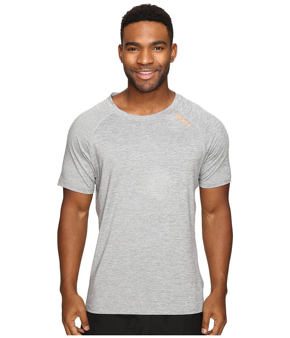 2XU - Urban Short Sleeve Top (Moon Grey Marle/Sunburst Orange) Men's Clothing