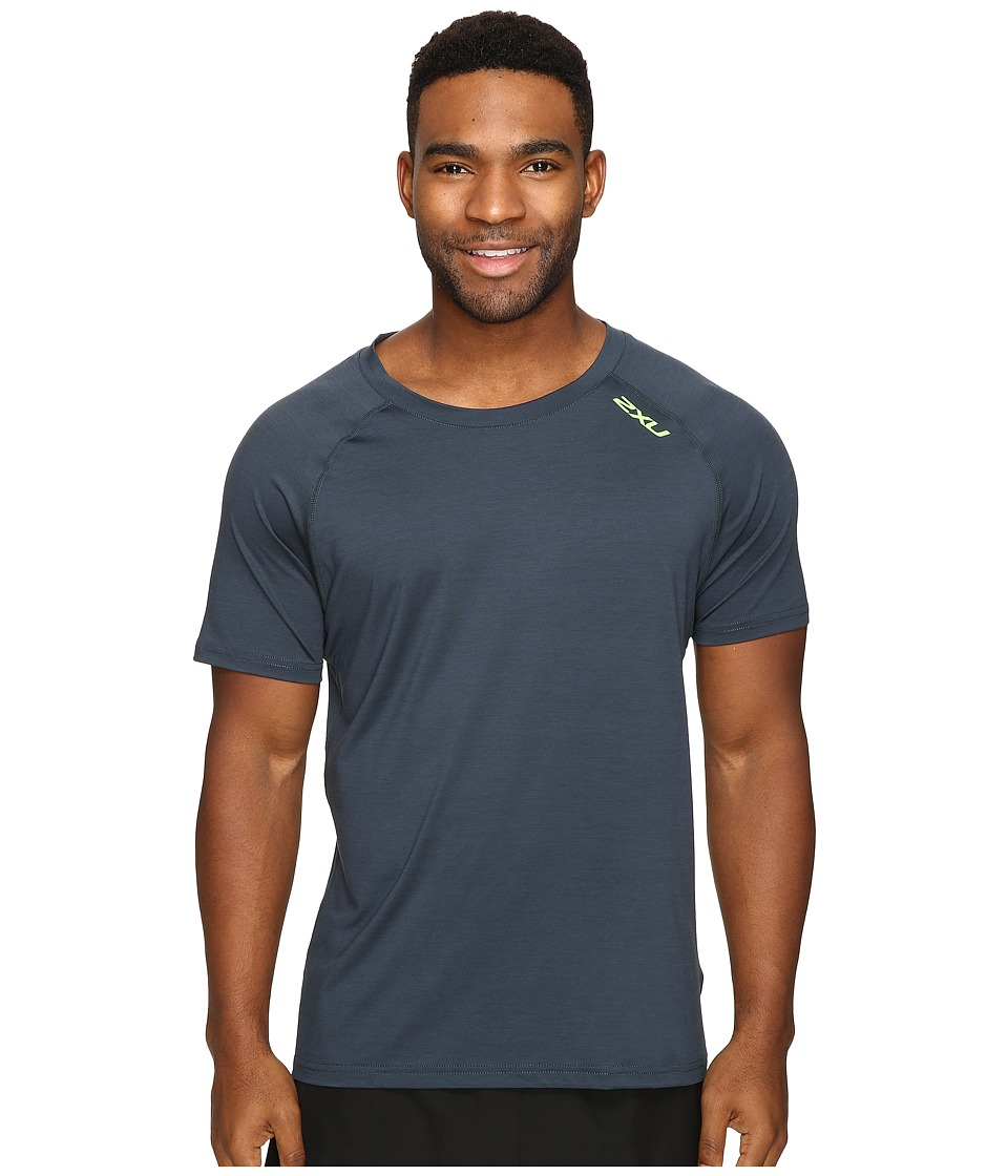 2XU - Urban Short Sleeve Top (Ombre Blue Marle/Gecko Green) Men's Clothing