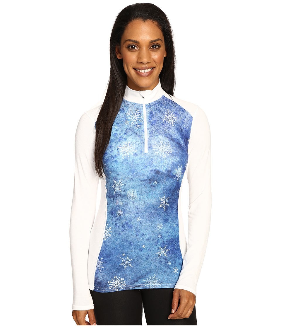 Hot Chillys - MTF Print Zip-T (Flurry/White) Women's Long Sleeve Pullover
