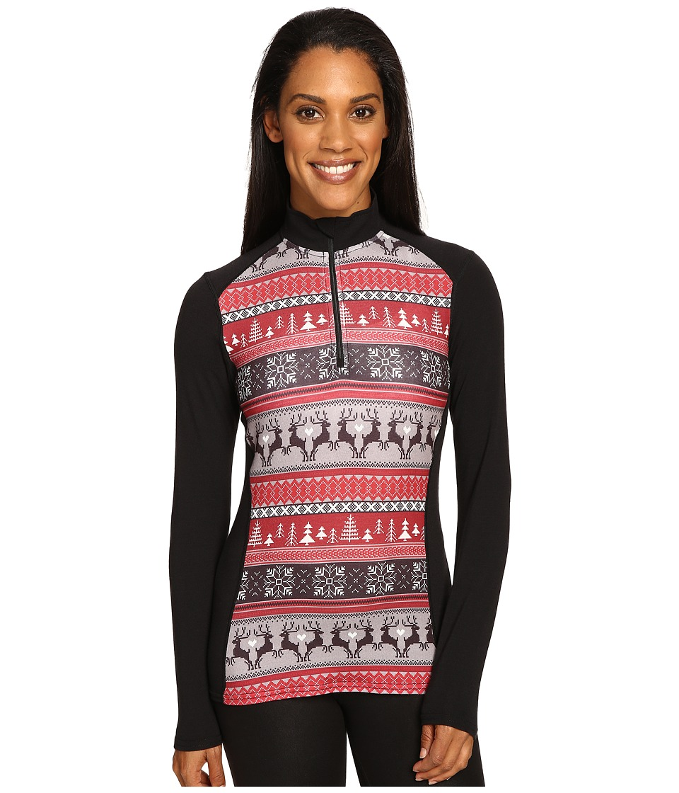 Hot Chillys - MTF Print Zip-T (Holiday Fever/Black) Women's Long Sleeve Pullover