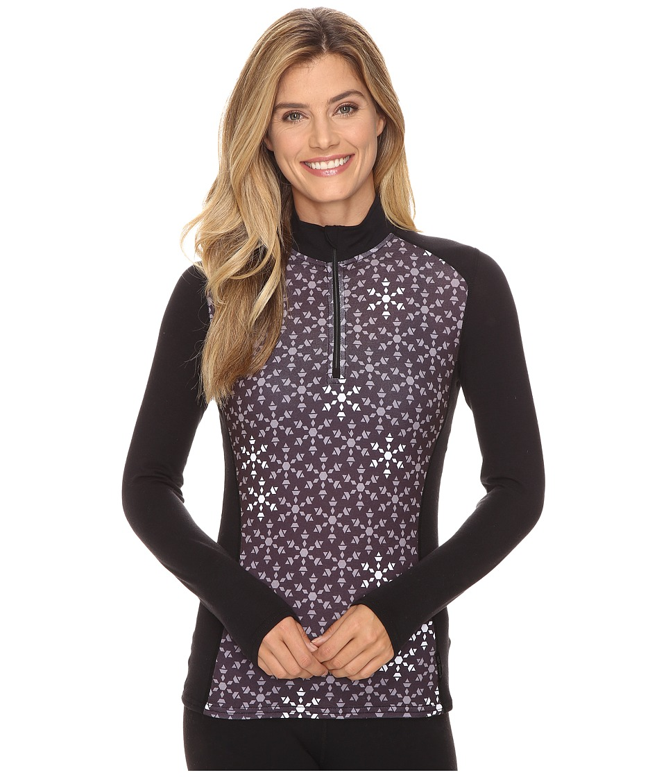 Hot Chillys - MTF Print Zip-T (Ice Crystal/Black) Women's Long Sleeve Pullover