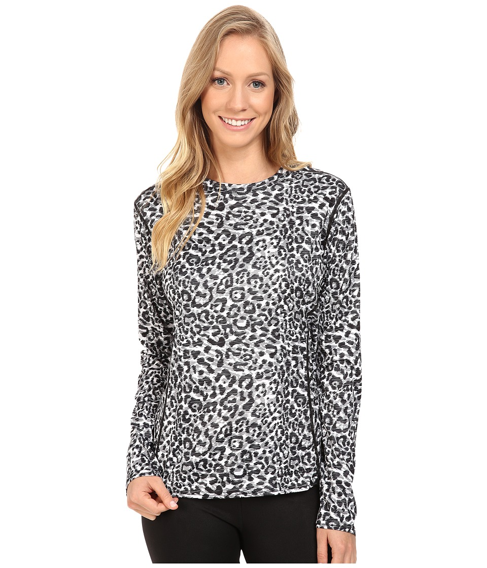 Hot Chillys Peach Print Crewneck (Snow Leopard) Women's Clothing