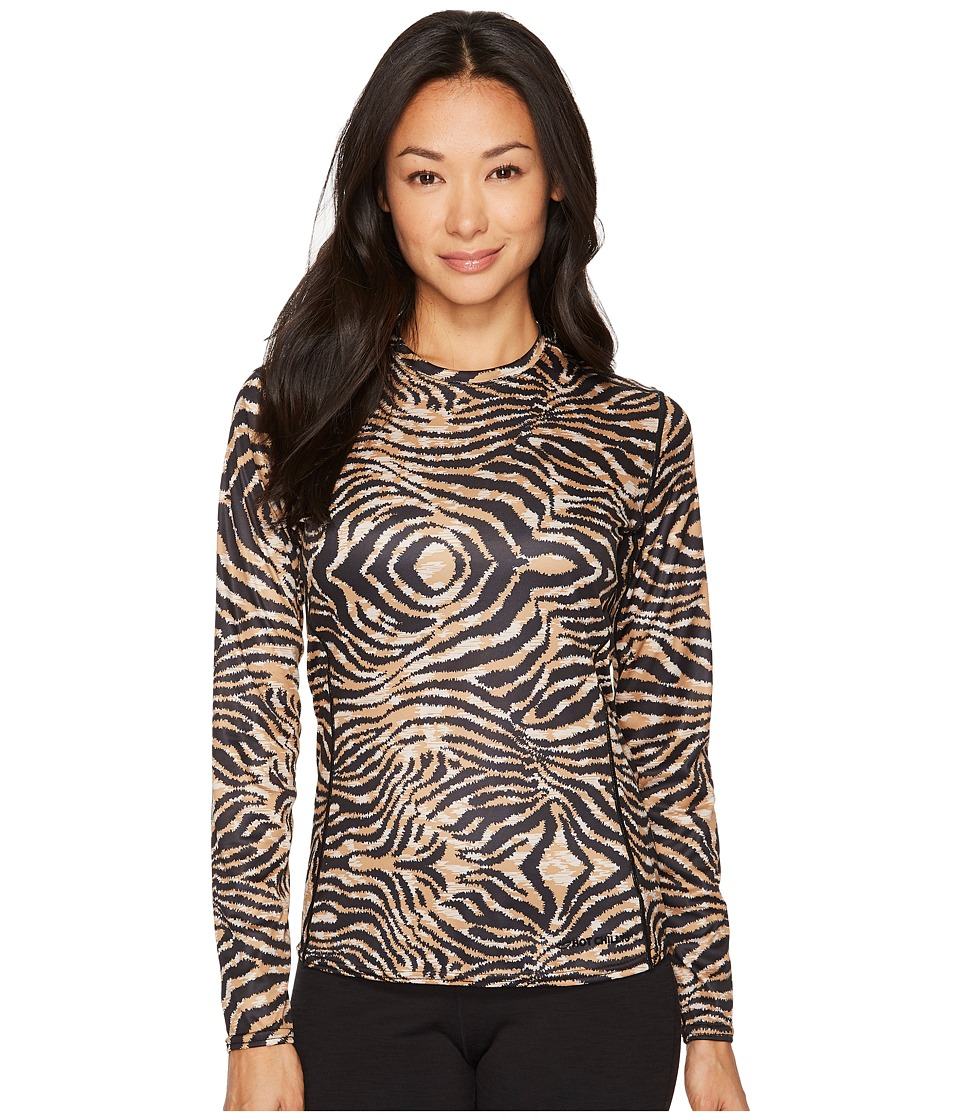 Hot Chillys Peach Print Crewneck (Tiger) Women's Clothing