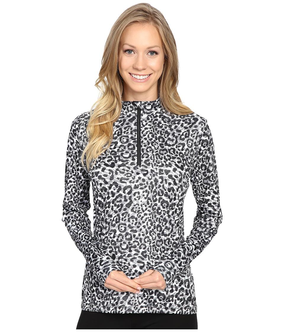 Hot Chillys - Peach Print Zip Tee (Snow Leopard) Women's T Shirt