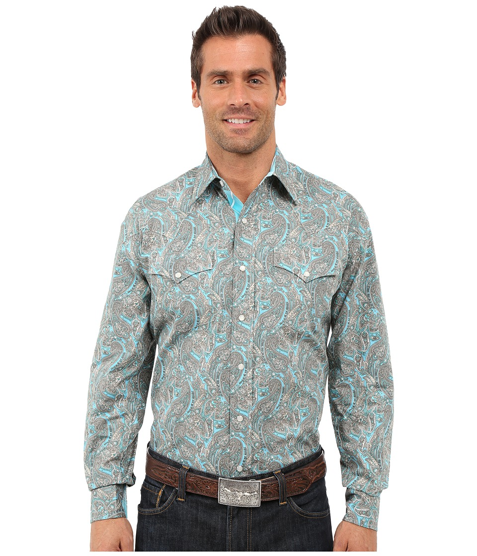 Stetson - Modern Paisley Long Sleeve Snap Front Shirt (Blue) Men's Long Sleeve Button Up