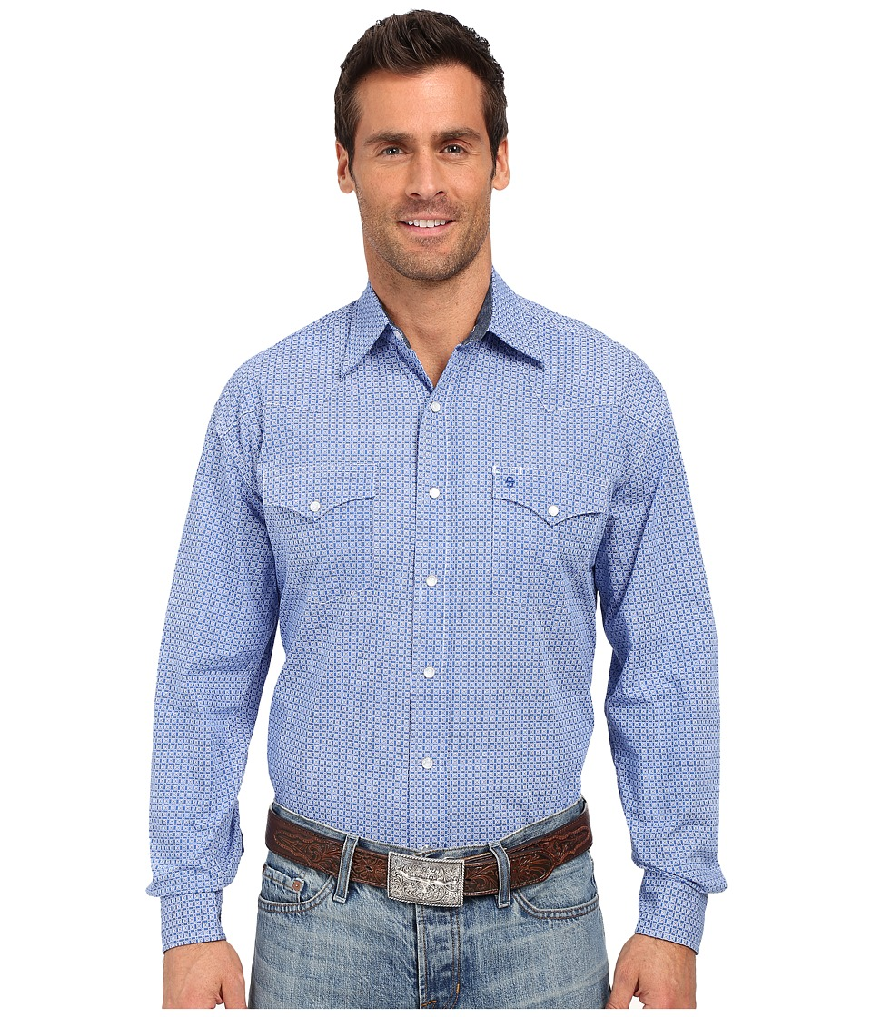 Stetson - Circuit Geo Print Long Sleeve Snap Front Shirt (Blue) Men's Long Sleeve Button Up