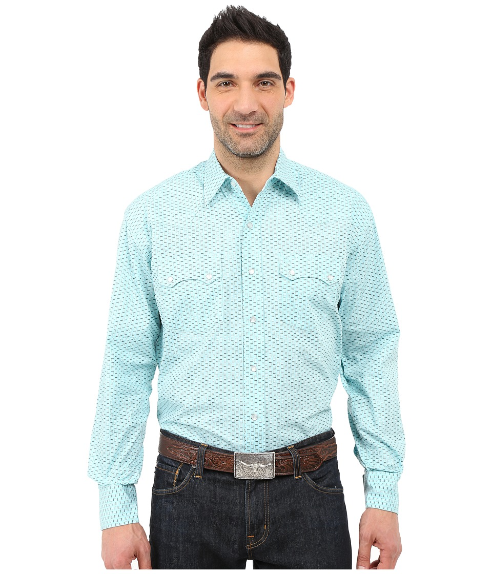 Stetson - Box Foulard Long Sleeve Snap Front Shirt (Blue) Men's Clothing