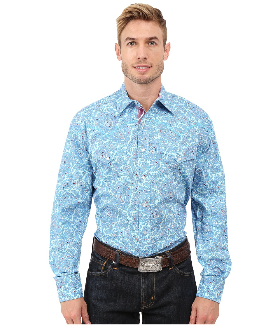 Stetson - Water Paisley Two Pocket Snap Shirt (Blue) Men's Clothing