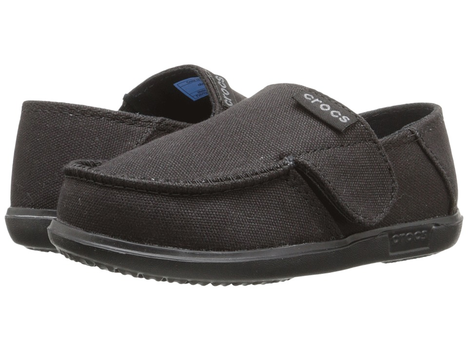 Crocs Kids - Santa Cruz Canvas Loafer (Toddler/Little Kid) (Black/Black) Boy's Shoes