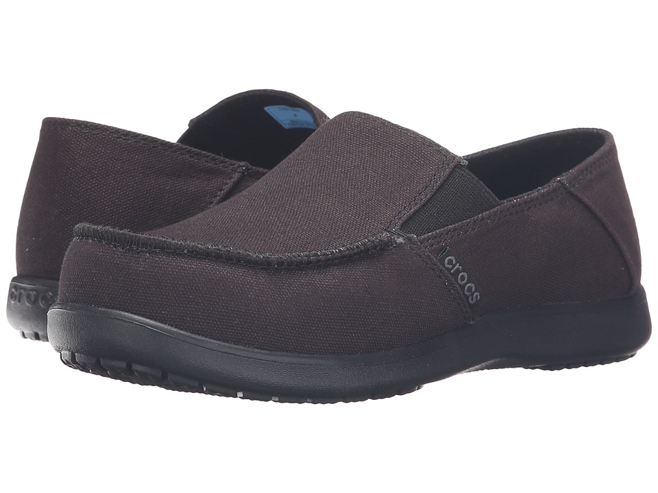 Crocs Kids - Santa Cruz Canvas Loafer (Little Kid/Big Kid) (Black/Black) Boy's Shoes