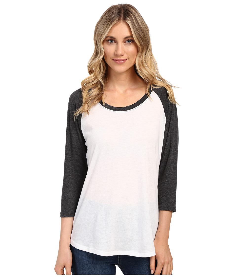 Hurley - Staple Easy Raglan (White/Heather Black) Women's Long Sleeve Pullover