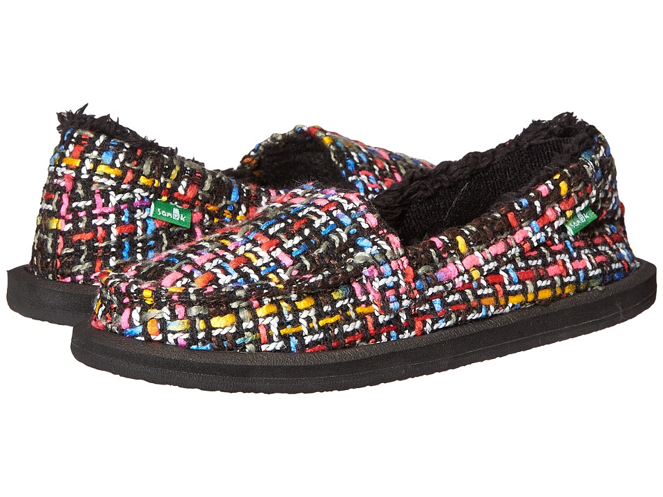 Sanuk - Shor-Knitty (Black Multi Tweed) Women's Slip on Shoes
