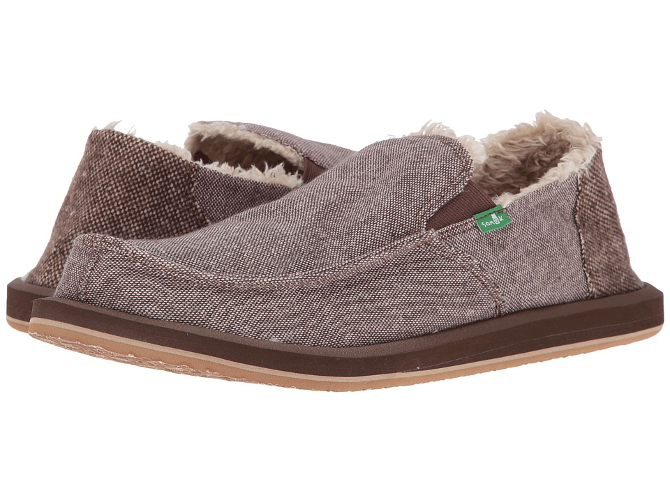 Sanuk - Vagabond Chill (Dark Brown Wool Fleck) Men's Slip on Shoes