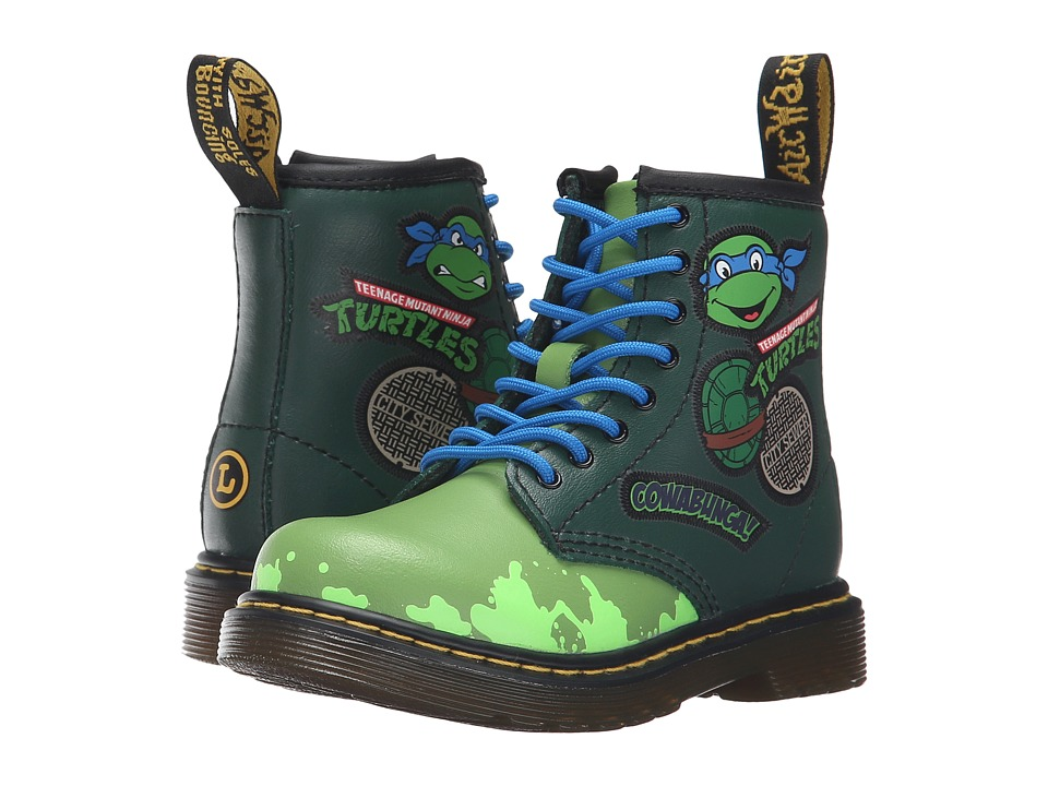 Dr. Martens Kid's Collection - Ninja Turtles Leo (Toddler) (Green Leather) Kid's Shoes